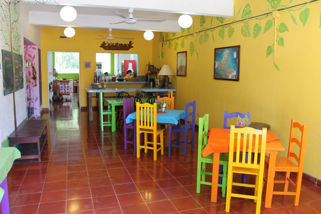 The colorful entryway and restaurant