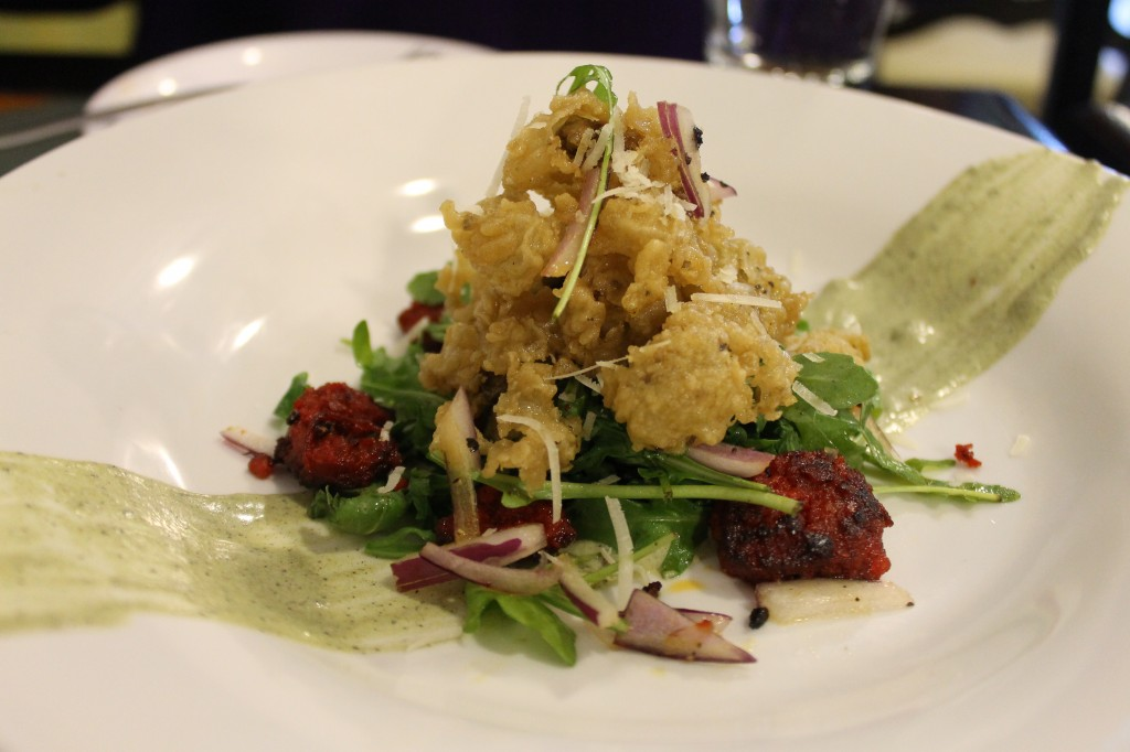 Crispy oysters on a salad