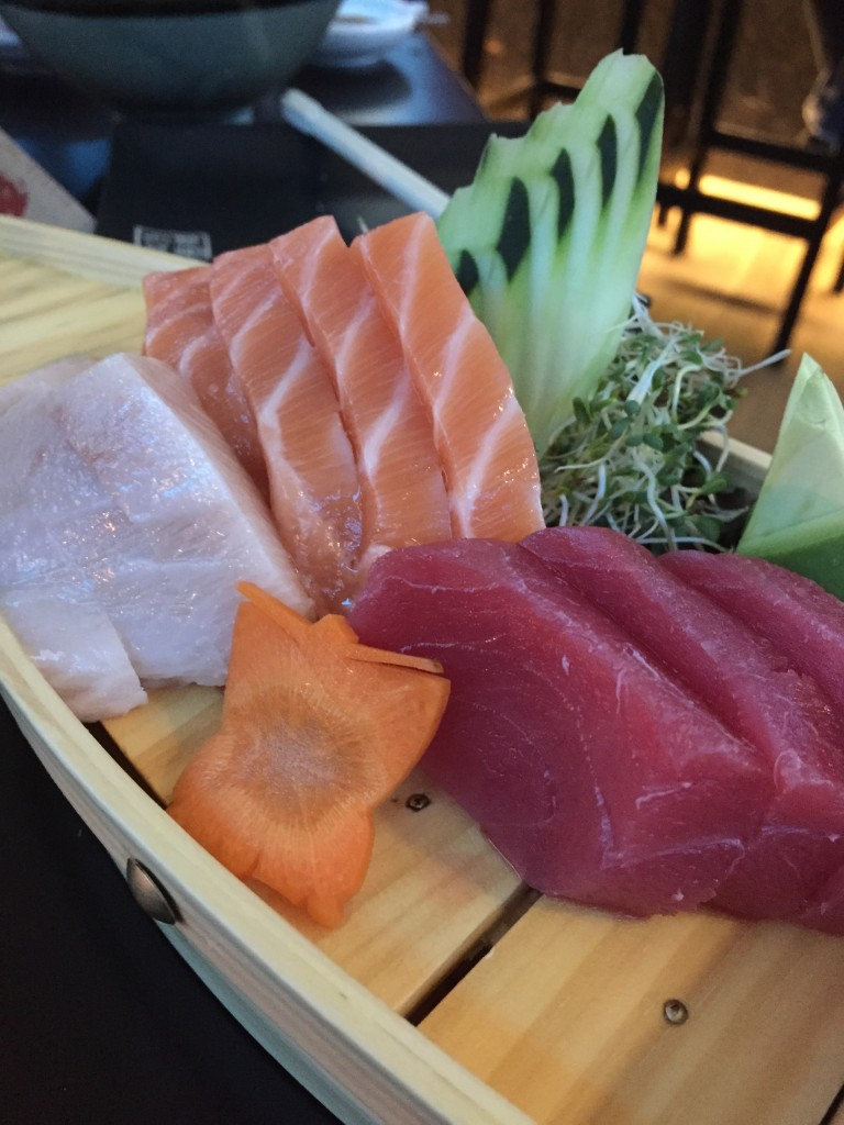 Salmon, tuna and hamachi (yellowtail) sashimi