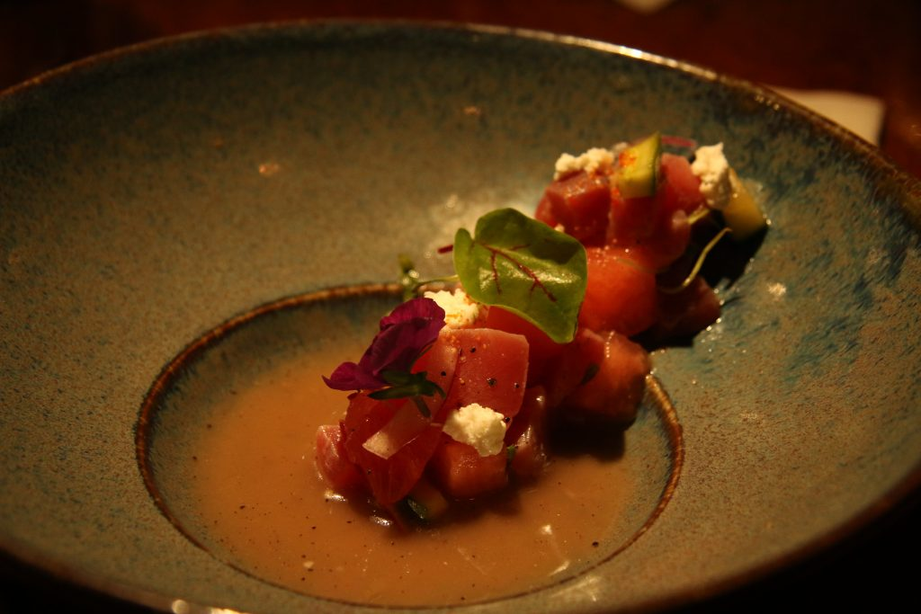 Ceviche, toro tuna and watermelon, among other delicacies
