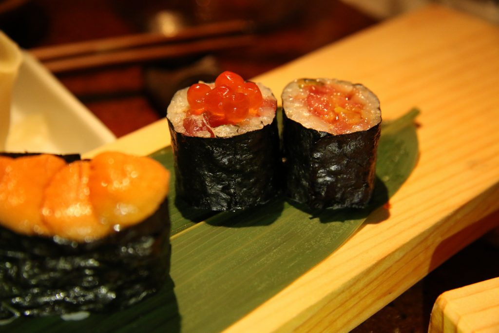 Toro tuna with salmon eggs on top just for fun