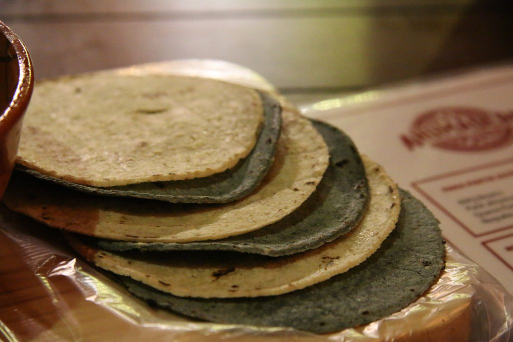 Regular and blue corn tortillas